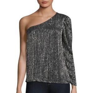 Parker one shoulder sequin blouse